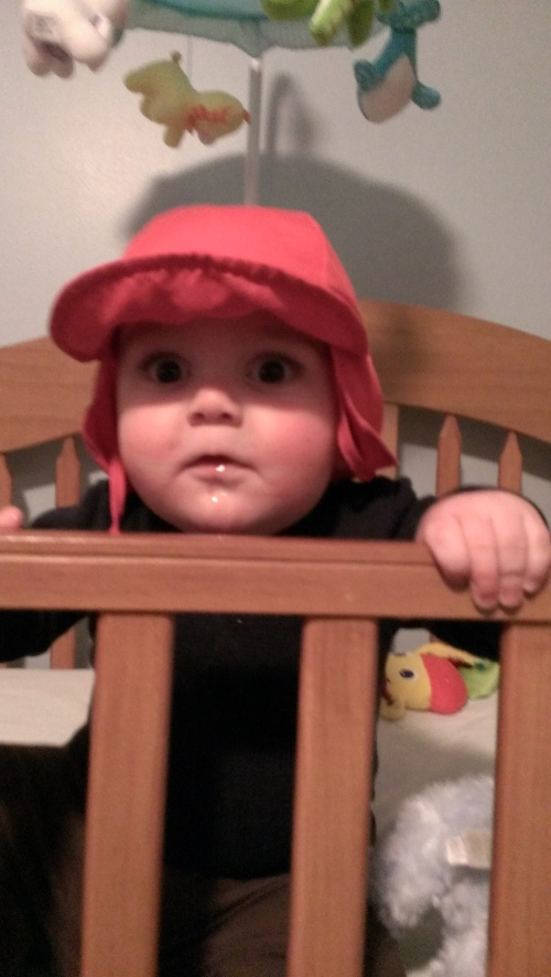Standing in the crib- he can pull up on the rail!
