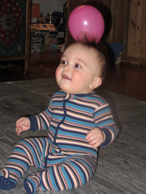 Surprisingly, the popping balloons didn't startle him!