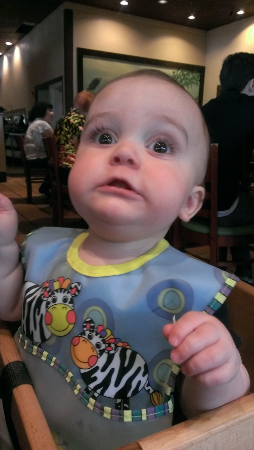 """Our first stop was alamo cafe. This is his """"ZOMG TORTILLA"""" face."""
